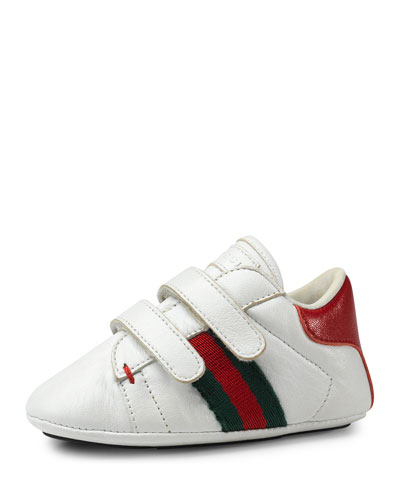 Leather Grip-Strap Sneaker, White, Infant