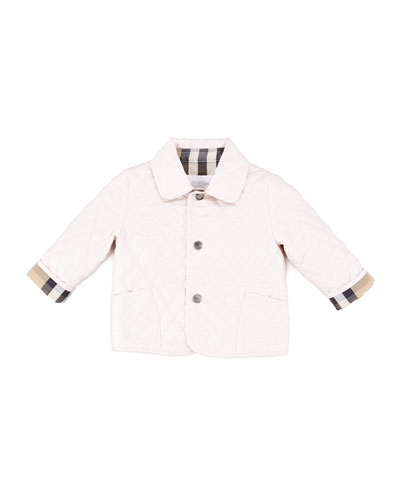 Check-Lined Quilted Jacket, Ice Pink, 6-18 Months