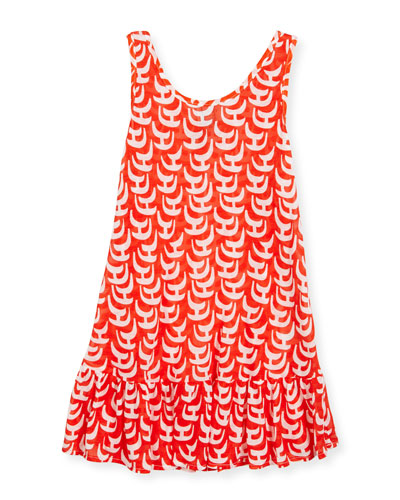 Sailboat Ruffle Coverup Dress, Red/White, Size 4-7