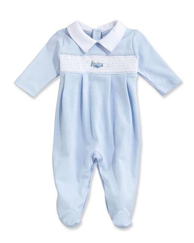 Fly Away Collared Pima Footie Pajamas, Blue, Size Newborn-9 Months