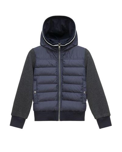 Hooded Fleece Zip-Front Jacket, Light Gray, Size 8-14