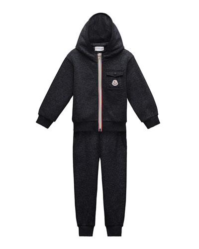 Hooded Zip-Front Track Jacket w/ Pants, Navy, Size 8-14