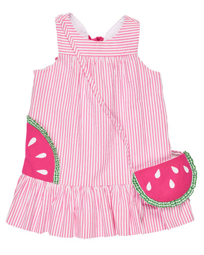Sleeveless Striped Seersucker Sundress w/ Watermelon Bag, Pink, Size 2T-6X