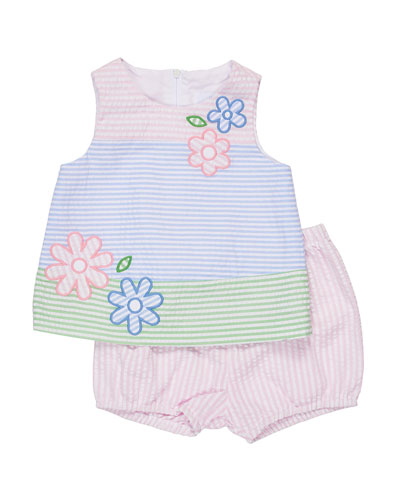 Sleeveless Floral Striped Seersucker Dress w/ Bloomers, Multicolor, Size 3-24 Months
