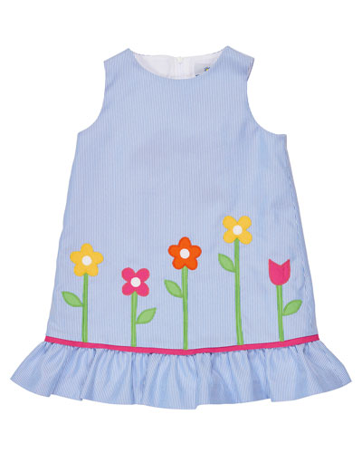Sleeveless Floral Corduroy Sundress, Blue, Size 2T-6