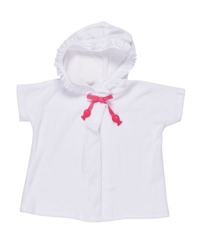 Hooded Terry Swim Coverup, White, Size 2T-4T