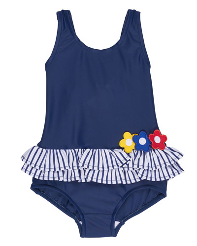 Skirted Floral One-Piece Swimsuit, Blue, Size 2T-6X