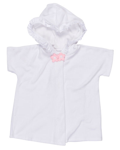 Hooded Ruffle-Trim Swim Coverup, White, Size 2T-6X