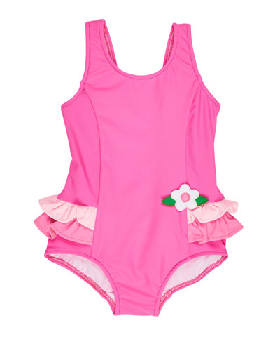 Ruffle-Trim Colorblock One-Piece Swimsuit, Pink, Size 6-24 Months