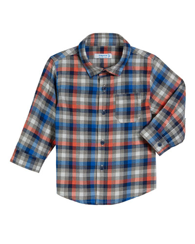 Mayoral Long-Sleeve Gingham Poplin Shirt, Size 3-24 Months