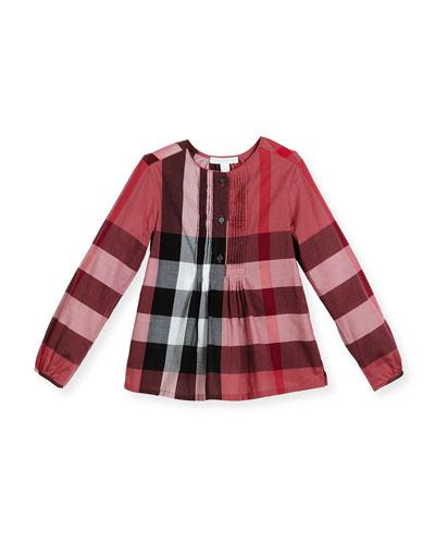 Brea Long-Sleeve Pintucked Check Poplin Top, Pink, Size 4-14