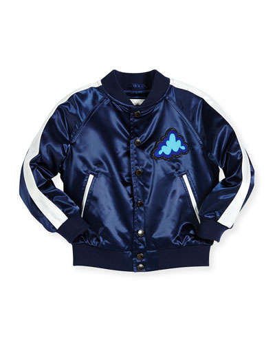 Mini Lidington Satin Bomber Jacket,  Navy, Size 4-14