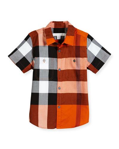 Camber Poplin Check Shirt, Tangerine, Size 4-14