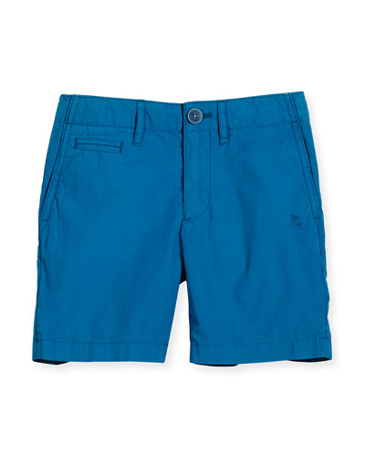 Cotton Chino Shorts, Blue, Size 4-14