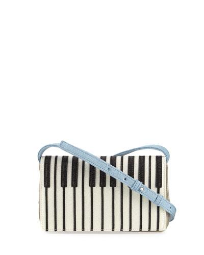 Girls' Metallic Faux-Leather Piano Crossbody Bag, Gray