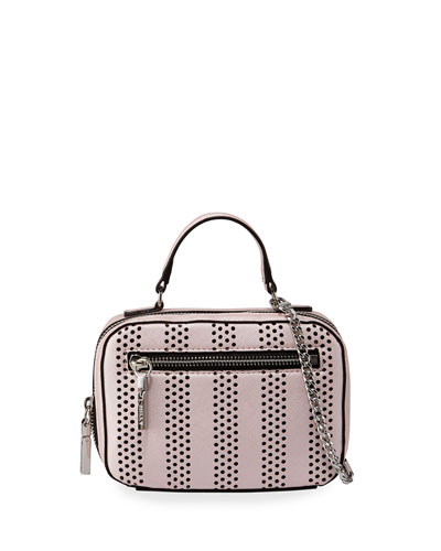 Girls' Mini Perforated Leather Crossbody Bag, Pink