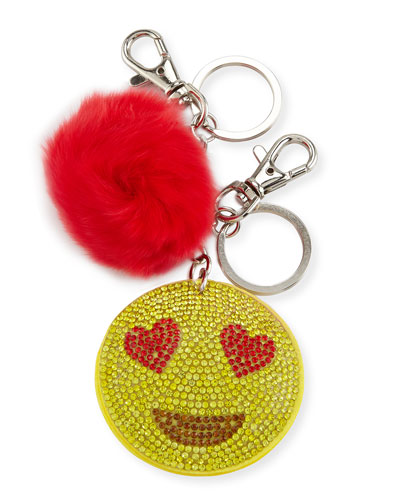 Girls' Crystal Heart Eye Emoji Fur Key Chain, Multicolor