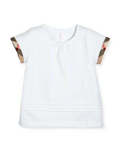 Gisselle Pintucked Jersey Tee, White, Size 4-14