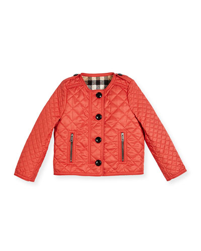 Nalla Quilted Collarless Jacket, Red, Size 4-14