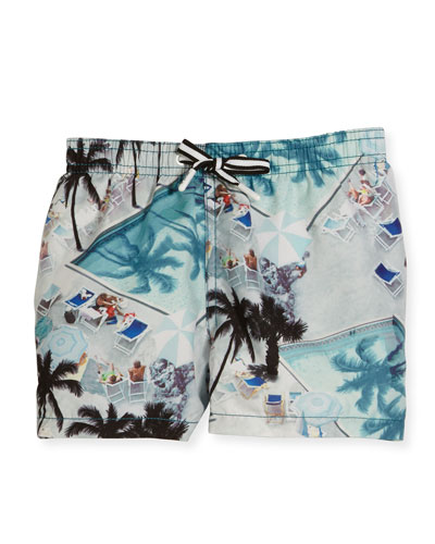 Niko Swimming Pools Board Shorts, Blue, Size 2T-12