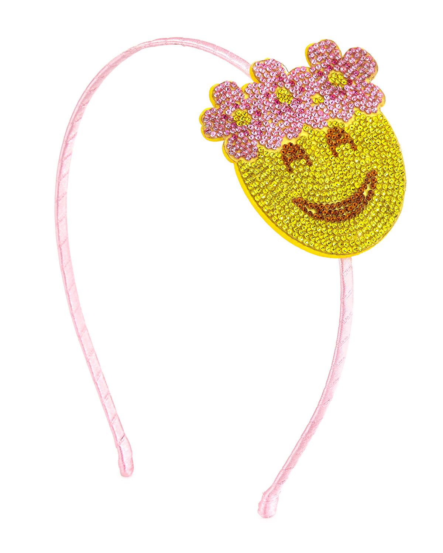 Girls' Floral Halo Emoji Headband, Yellow