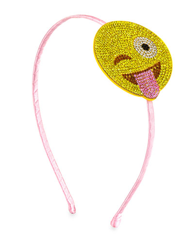 Girls' Crystal Laughing Emoji Headband, Pink/Yellow