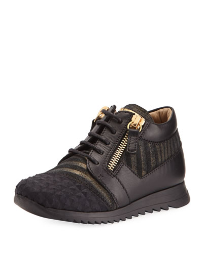 Iperstud Leather Sneaker, Black, Youth