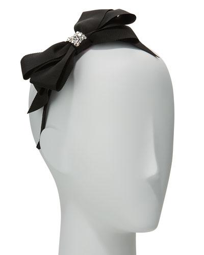 Girls' Grosgrain Bow Headband, Black