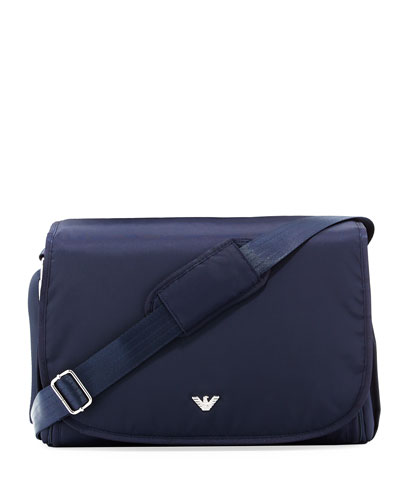 Nylon Crossbody Diaper Bag, Navy