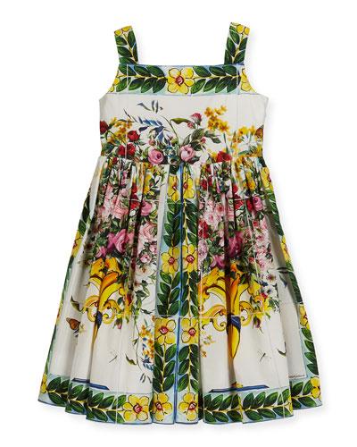 Flower Vase Printed Cotton Dress, Size 2-6