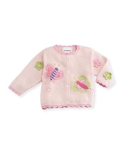Art Walk Butterflies Cotton Button-Front Sweater, Pink, Size