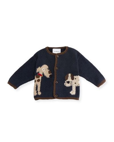 Woof Woof Cotton Button-Front Sweater, Blue, Size 12-24 Months