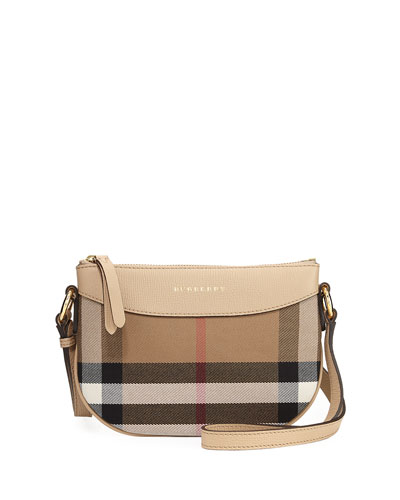 Girls' Coca Check Canvas Leather-Trim Crossbody Bag