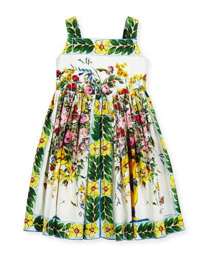 Flower Vase Printed Cotton Dress, Size 8-12