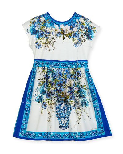 Short-Sleeve Caltagirone Floral Dress, White, Size 8-12