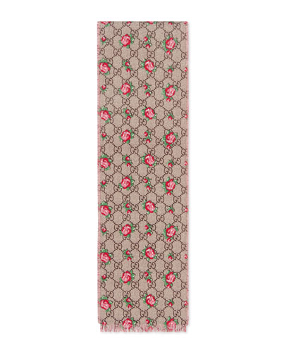 Girls' GG Supreme & Rose Wool Scarf