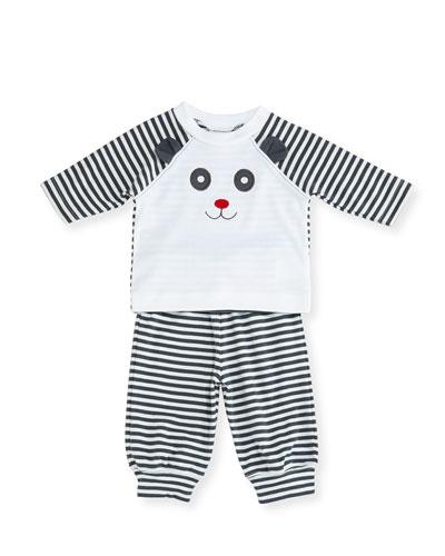 Striped Knit Panda Bear Top w/ Pants, Size 3-12 Months