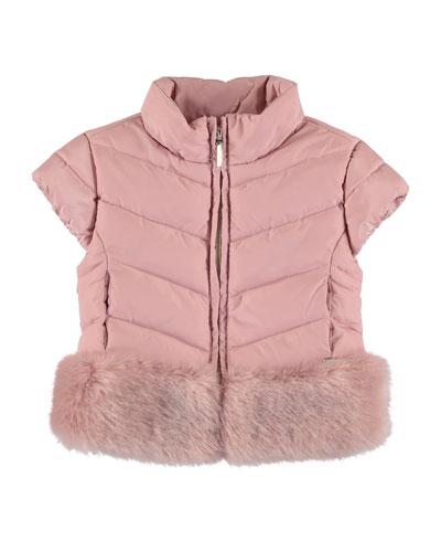Quilted Cap-Sleeve Coat w/ Faux-Fur Trim, Size 3-7