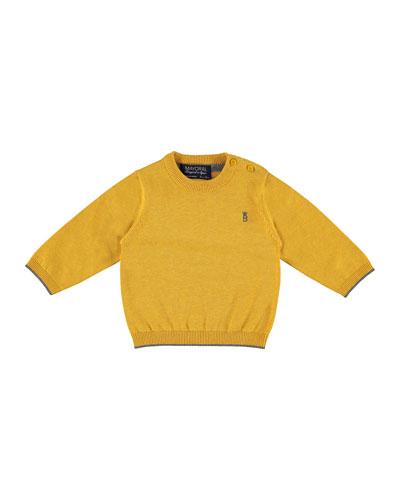 Cotton Crewneck Pullover Sweater, Orangey, Size 6-36 Months