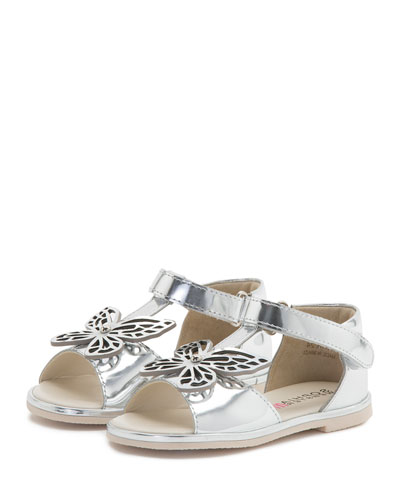 Flutterby Metallic Leather T-Strap Flat Sandal, Silver, Toddler/Youth