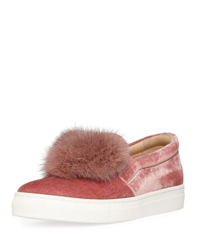 Fur Heart Slip-On Velvet Sneaker, Youth