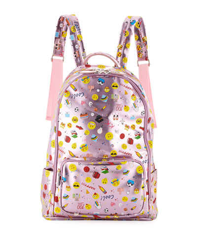 Kids' Metallic Emoji-Print Faux-Leather Backpack