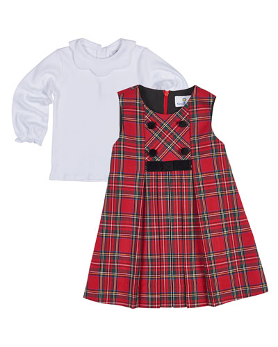 Tartan Plaid Pleated Jumper w/ Blouse, Size 2-6X