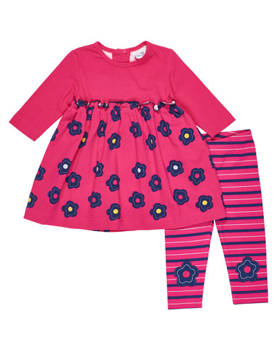 Long-Sleeve Floral Top w/ Striped Leggings, Size 3-24 Months