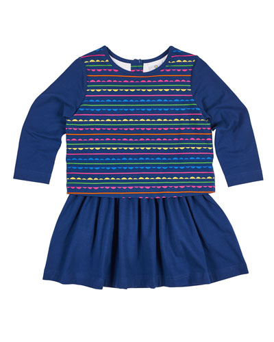 Scallop Stripe-Print Dress w/ Solid Skirt, Size 2-6X
