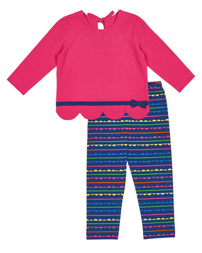 Scallop-Hem Bow Shirt w/ Striped Leggings, Size 2-6X