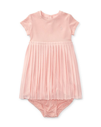 Stretch Jersey Accordion-Pleat Dress w/ Bloomers, Size 9-24 Months