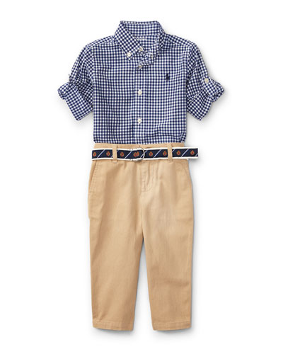 Poplin Gingham Button-Down Shirt w/ Pants & Belt, Size 9-24 Months