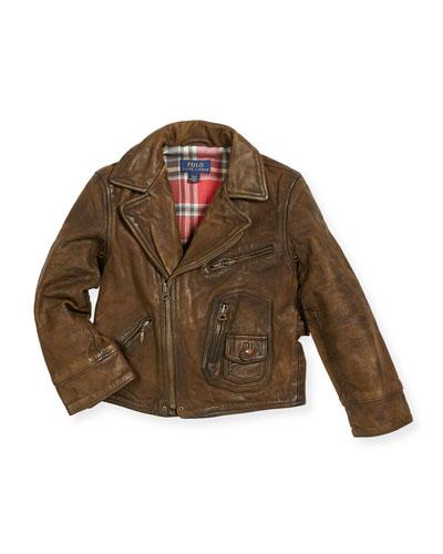 Leather Cafe Racer Jacket, Size 2-4