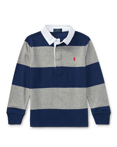 Jersey Rugby Striped Polo, Blue/Gray, Size 2-4